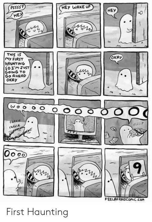 Haunting: PSSSST  HEY WAKE UP  HE  THIS IS  my FIRST  HAUNTING  So Im JUST  GOING TO  GO AHEAD  OKAY  OKAy  rattle  rattle  CiiiiP  9  FEELAFRAIDComiC Com First Haunting