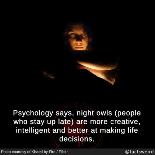 Fire, Life, and Memes: Psychology says, night owls (people  who stay up late) are more creative,  intelligent and better at making life  decisions.  Photo courtesy of Kissed by Fire / Flickr  @factsweird