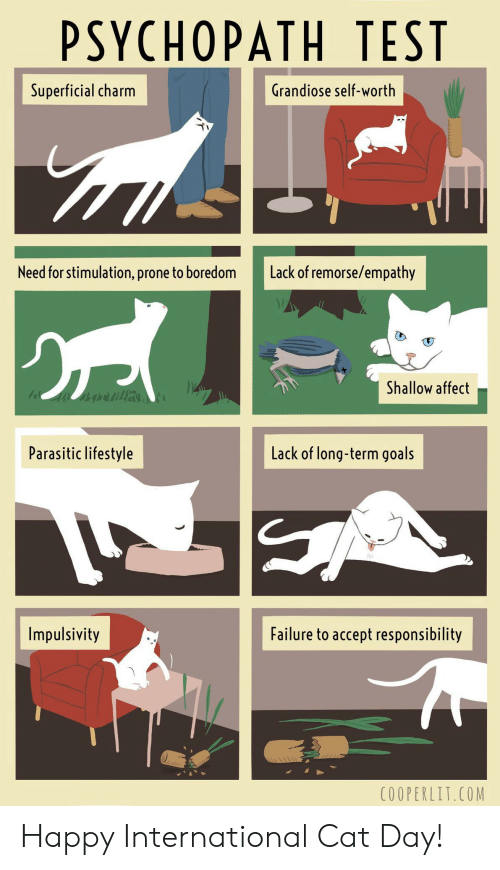 Goals, Affect, and Empathy: PSYCHOPATH TEST  Grandiose self-worth  Superficial charm  Lack of remorse/empathy  Need for stimulation, prone to boredom  Shallow affect  Lack of long-term goals  Parasitic lifestyle  Failure to accept responsibility  Impulsivity  C0OPERLIT.COM Happy International Cat Day!