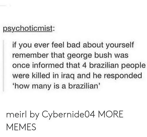 Iraq: psychoticmist:  if you ever feel bad about yourself  remember that george bush was  once informed that 4 brazilian people  were killed in iraq and he responded  how many is a brazilian' meirl by Cybernide04 MORE MEMES