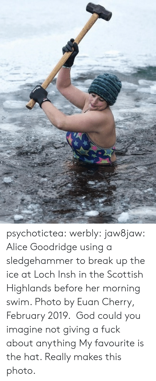 alice: psychotictea:  werbly:  jaw8jaw: Alice Goodridge using a sledgehammer to break up the ice at Loch Insh in the Scottish Highlands before her morning swim. Photo by Euan Cherry, February 2019.  God could you imagine not giving a fuck about anything   My favourite is the hat. Really makes this photo.