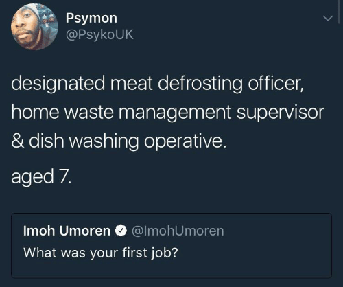 First Job: Psymon  PsykoUK  designated meat defrosting officer,  home waste management supervisor  & dish washing operative.  aged 7.  Imoh Umoren @lmohUmoren  What was your first job?