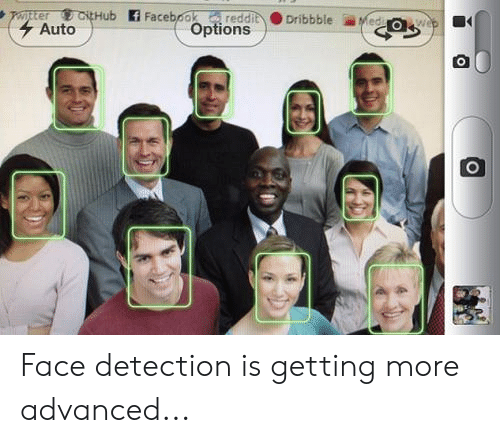 Dribbble: pter CitHub Facebookreddit  Auto  Dribbble  Medi wep  Options Face detection is getting more advanced...