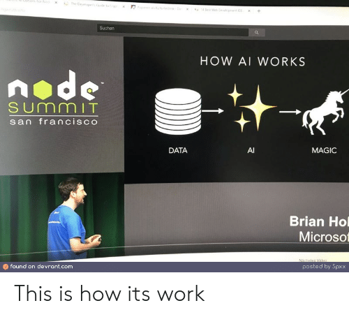 Work, Best, and Magic: ptibmsFor Nod  The Deveopes o  s fehD  4 Best We Devepnt  +  x  Suchen  HOW AI WORKS  node  SUmmIT  san francisco  DATA  AI  MAGIC  Brian Ho  Microso  Nächstes Video  found on devrant.com  posted by Spxx This is how its work
