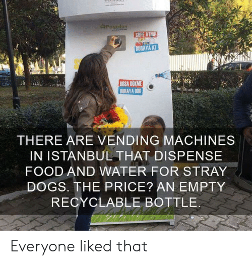 Machines: PugEdoN  COPE ATMA  BURAYA AT  BOSA DOKME  BURAYA DOK  THERE ARE VENDING MACHINES  IN ISTANBUL THAT DISPENSE  FOOD AND WATER FOR STRAY  DOGS. THE PRICE? AN EMPTY  RECYCLABLE BOTTLE Everyone liked that