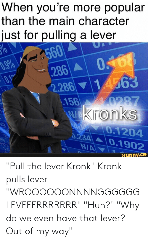 """Pull: """"Pull the lever Kronk"""" Kronk pulls lever """"WROOOOOONNNNGGGGGG LEVEEERRRRRRR"""" """"Huh?"""" """"Why do we even have that lever? Out of my way"""""""