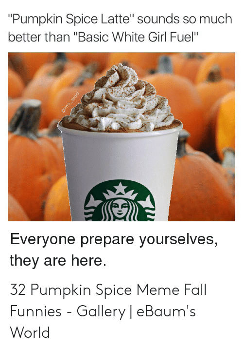 """Pumpkin Spice Meme: """"Pumpkin Spice Latte"""" sounds so muclh  better than """"Basic White Girl Fuel""""  Everyone prepare yourselves  they are here. 32 Pumpkin Spice Meme Fall Funnies - Gallery 