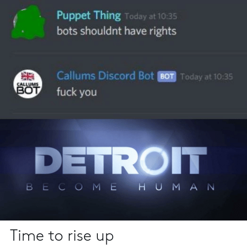 bots: Puppet Thing Today at 10:35  bots shouldnt have rights  Callums Discord Bot BOT Today at 10:35  CALLUMS  BOT  fuck you  DETROIT  BECOME H UMAN Time to rise up
