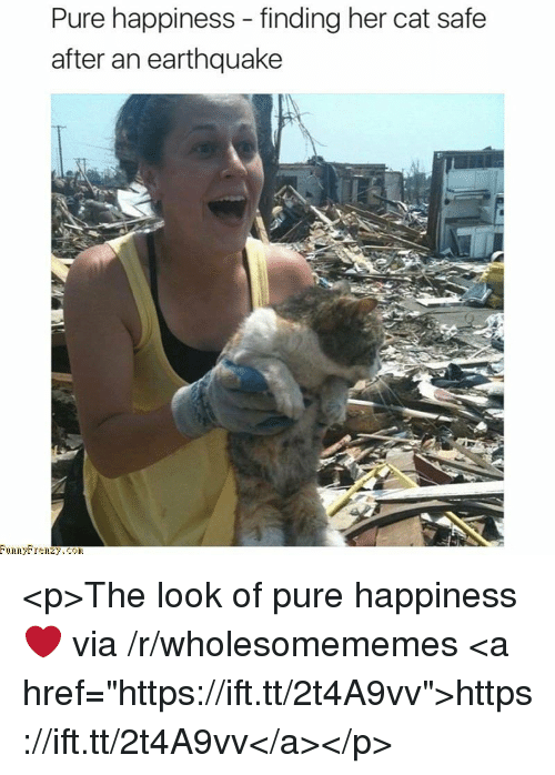 """Pure Happiness: Pure happiness - finding her cat safe  after an earthquake <p>The look of pure happiness ❤ via /r/wholesomememes <a href=""""https://ift.tt/2t4A9vv"""">https://ift.tt/2t4A9vv</a></p>"""