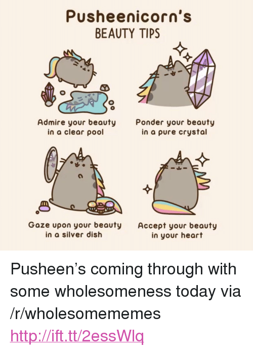 """pusheen: Pusheenicorn's  BEAUTY TIPS  Admire your beauty  in a clear pool  Ponder your beauty  in a pure crystal  1 8  Goze upon your beauty Accept your beauty  in a silver dish  in your heart <p>Pusheen&rsquo;s coming through with some wholesomeness today via /r/wholesomememes <a href=""""http://ift.tt/2essWlq"""">http://ift.tt/2essWlq</a></p>"""
