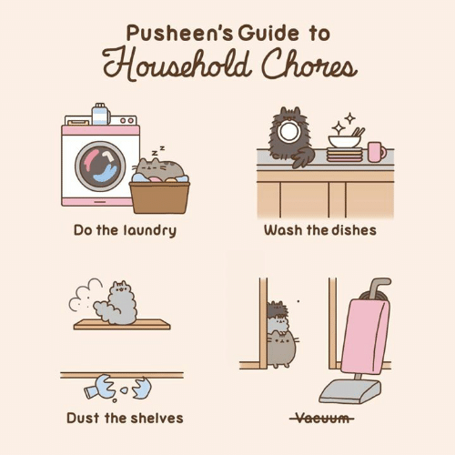 Pusheens: Pusheen's Guide to  Do the laundry  Wash the dishes  Dust the shelves