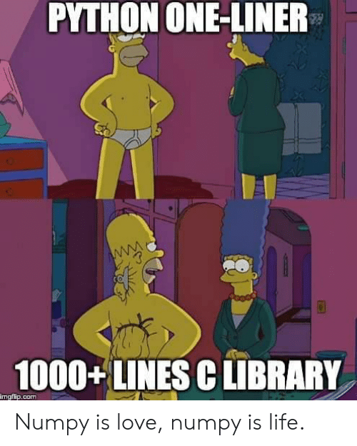 Life, Love, and Library: PYTHON ONE-LINER  1000+LINES C LIBRARY  mgflip.com Numpy is love, numpy is life.