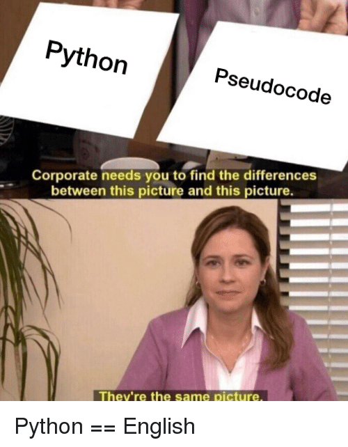 English, Corporate, and Python: Python  Pseudocode  Corporate needs you to find the differences  between this picture and this picture.  They're the same picture Python == English
