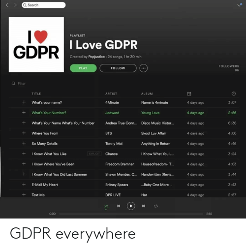 toro: Q Search  PLAYLIST  GDPR  DILove GDPR  Created by Popjustice. 24 songs, 1 hr 30 min  FOLLOWERS  86  PLAY  FOLLOW  Q Filter  TITLE  ARTIST  ALBUM  What's your name?  4Minute  Name is 4minute  4 days ago  4 days ago  4 days ago  4 days ageo  4 days ago  4 days ago  4 days ago  4 days ago  4 days ago  4 days ago  3:07  +What's Your Number?  Jedward  2:56  6:36  4:00  4:46  3:24  4:03  Young Love  What's Your Name What's Your Number Andrea True Conn.... Disco Music Histor...  +Where You From  +So Many Details  +Know What You Like  + I Know Where You've Been  +Know What You Did Last Summer  +E-Mail My Heart  +Text Me  BTS  Skool Luv Affair  Toro y Moi  Anything in Return  EXPLICIT  Chance  I Know What You L..  Freedom Bremner Houseofreedom- T...  Shawn Mendes, C.. Handwritten (Revis..  Britney Spears  DPR LIVE  3:44  ..Baby One More.  3:43  Her  2:57  0:00  2:55 GDPR everywhere