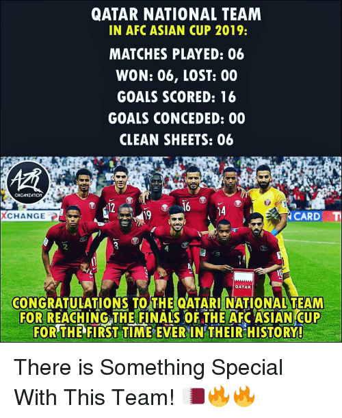 Asian, Finals, and Goals: QATAR NATIONAL TEAM  IN AFC ASIAN CUP 2019:  MATCHES PLAYED: 06  WON: 06, LOST: 00  GOALS SCORED: 16  GOALS CONCEDED: 00  CLEAN SHEETS: 06  ORGAMIZATION  12  16 4  XCHANGE  19  CARD  2  CONGRATULATIONS TO THE QATARI NATIONAL TEAM  FOR REACH INGTHE FINALS OF THE AFC ASIAN CUP  FOR THE FIRST TIME EVER IN THEIR HISTORY! There is Something Special With This Team! 🇶🇦🔥🔥