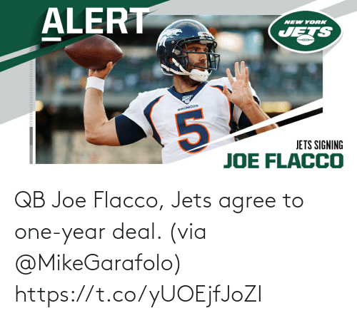 deal: QB Joe Flacco, Jets agree to one-year deal. (via @MikeGarafolo) https://t.co/yUOEjfJoZI