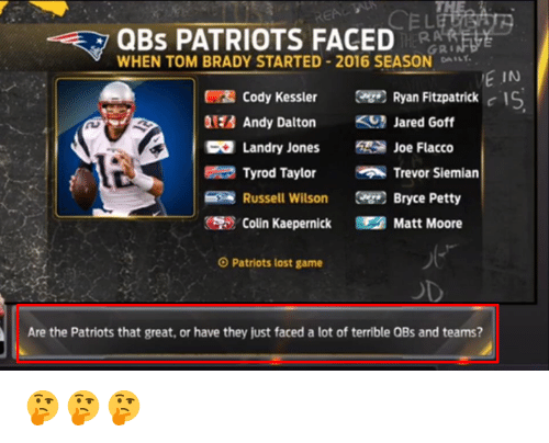 Andy Dalton: QBS PATRIOTS FACED  GRI  WHEN TOM BRADY STARTED 2016 SEASON DA  E IN  Cody Kessler Ryan Fitzpatrick  c IS  Andy Dalton  Jared Goff  Landry Jones  Joe Flacco  Tyrod Taylor  Trevor Siemian  Russell Wilson  Bryce Petty  Colin Kaepernick Matt Moore  O Patriots lost game  Are the Patriots that great, or have they just faced a lot of terrible QBs and teams? 🤔🤔🤔