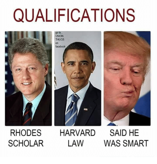 thugs: QUALIFICATIONS  go to  UNION  THUGS  on  facebook  RHODES HARVARD SAID HE  SCHOLAR  LAW WAS SMART