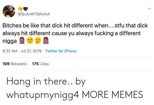 Fucking A: @QuAnWiTdAnlnA  Bitches be like that dick hit different when....stfu that dick  always hit different cause yu always fucking a different  nigga  9:22 AM Jul 27, 2019 Twitter for iPhone  109 Retweets  175 Likes Hang in there.. by whatupmynigg4 MORE MEMES