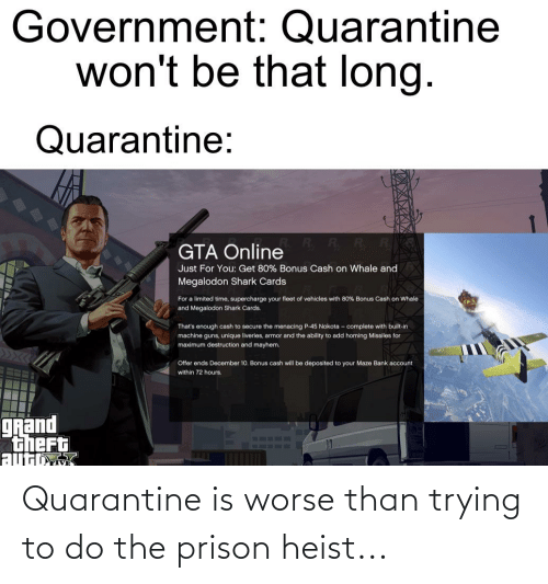 Trying To Do: Quarantine is worse than trying to do the prison heist...