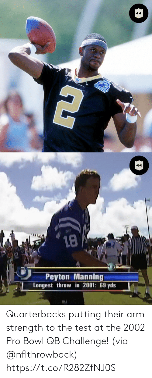 their: Quarterbacks putting their arm strength to the test at the 2002 Pro Bowl QB Challenge! (via @nflthrowback) https://t.co/R282ZfNJ0S