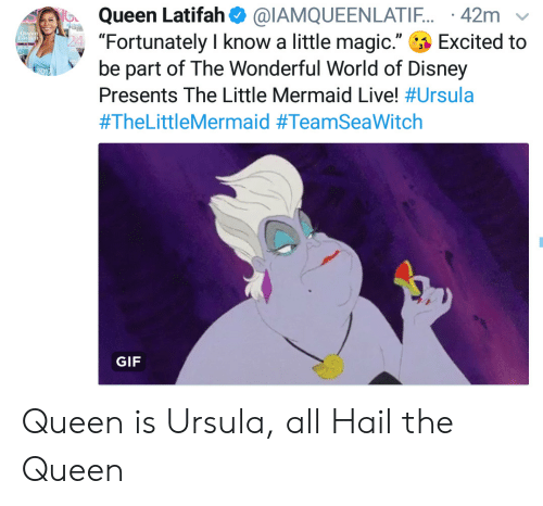 "Disney, Gif, and Queen Latifah: Queen Latifah@IAMQUEENLATIF. 42m  ""Fortunately I know a little magic.""  be part of The Wonderful World of Disney  Queen  Tial  Excited to  Presents The Little Mermaid Live! #Ursula  #TheLittleMermaid #TeamSeaWitch  GIF Queen is Ursula, all Hail the Queen"