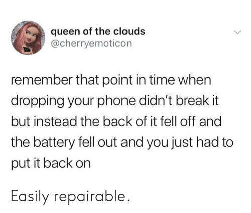Phone, Queen, and Break: queen of the clouds  @cherryemoticon  remember that point in time when  dropping your phone didn't break it  but instead the back of it fell off and  the battery fell out and you just had to  put it back on Easily repairable.