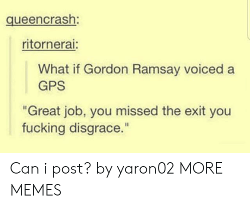 "Ramsay: queencrash:  ritornerai:  What if Gordon Ramsay voiced a  GPS  ""Great job, you missed the exit you  fucking disgrace."" Can i post? by yaron02 MORE MEMES"