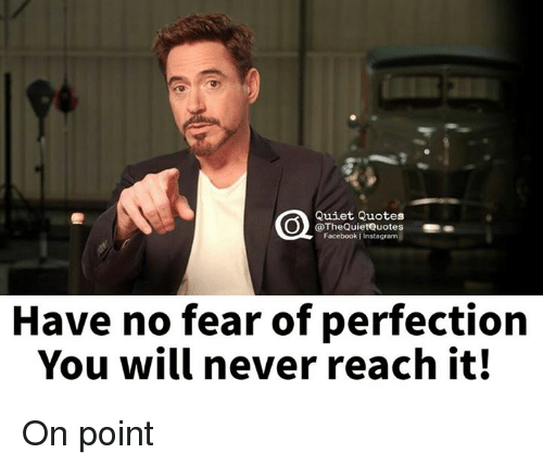 Facebook, Instagram, and Quiet: Quiet Quotes  @The QuietQuotes  Facebook Instagram  Have no fear of perfection  You will never reach it! On point
