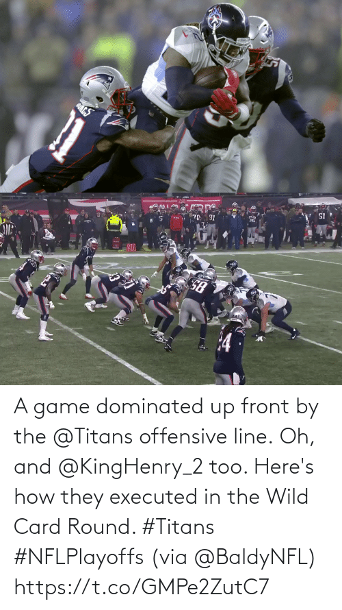 Offensive Line: QUNGS   SI  30 A game dominated up front by the @Titans offensive line.  Oh, and @KingHenry_2 too. Here's how they executed in the Wild Card Round. #Titans #NFLPlayoffs (via @BaldyNFL) https://t.co/GMPe2ZutC7