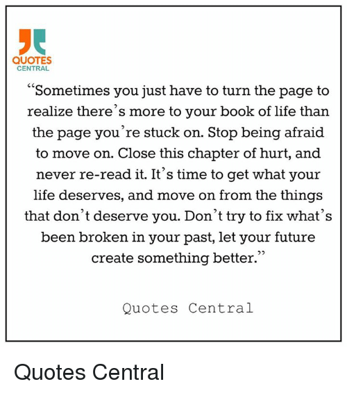 QUOTES CENTRAL Sometimes You Just Have to Turn the Page to ...