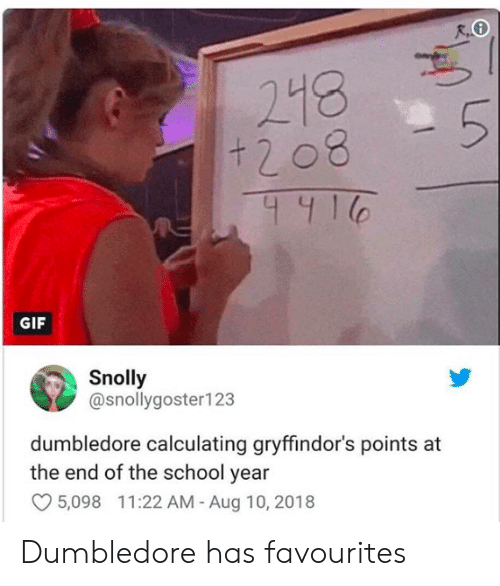 Calculating: R,  218  GIF  Snolly  @snollygoster123  dumbledore calculating gryffindor's points at  the end of the school year  5,098 11:22 AM -Aug 10, 2018 Dumbledore has favourites