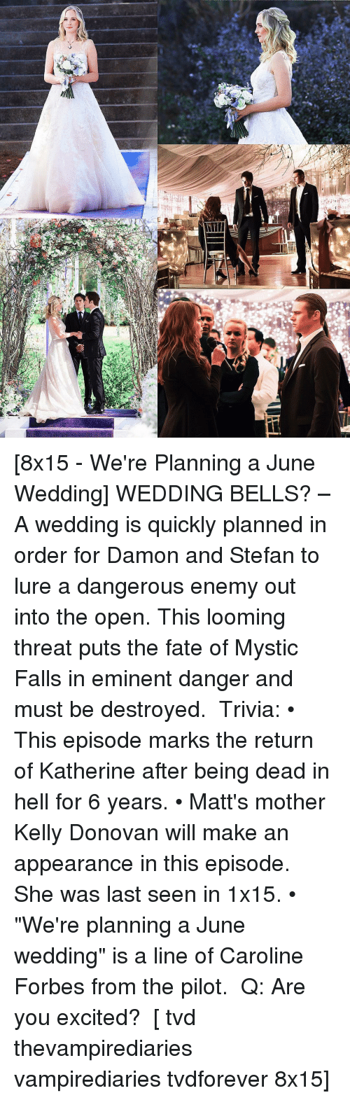 "Memes, Fate, and Mysticism: r [8x15 - We're Planning a June Wedding] WEDDING BELLS? – A wedding is quickly planned in order for Damon and Stefan to lure a dangerous enemy out into the open. This looming threat puts the fate of Mystic Falls in eminent danger and must be destroyed. ⠀ Trivia: • This episode marks the return of Katherine after being dead in hell for 6 years. • Matt's mother Kelly Donovan will make an appearance in this episode. She was last seen in 1x15. • ""We're planning a June wedding"" is a line of Caroline Forbes from the pilot. ⠀ Q: Are you excited? ⠀ [ tvd thevampirediaries vampirediaries tvdforever 8x15]"