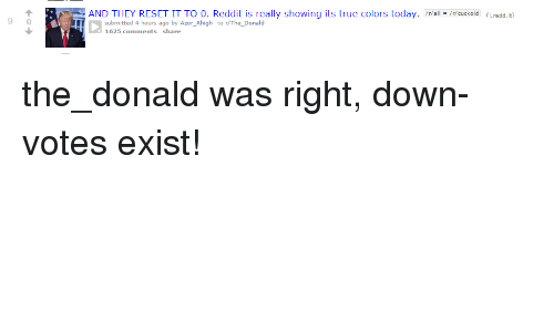 Politics, Reddit, And True: R AND THEY RESET IT TO 0. Reddit