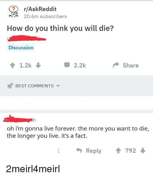 Best, Forever, and Live: r/AskReddit  20.6m subscribers  How do you think you will die?  Discussion  會1.2k  2.2k  Share  BEST COMMENTS  oh i'm gonna live forever. the more you want to die,  the longer you live. it's a fact.  Reply 1 792