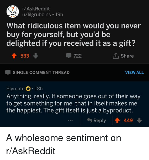 The Gift, Wholesome, and Never: r/AskReddit  u/lilgrubbins 19h  What ridiculous item would you never  buy for yourself, but you'd be  delighted if you received it as a gift?  533  -722  1. Share  SINGLE COMMENT THREAD  VIEW ALL  Slymate 18h  Anything, really. If someone goes out of their way  to get something for me, that in itself makes me  the happiest. The gift itself is just a byproduct.  Reply T 449 A wholesome sentiment on r/AskReddit