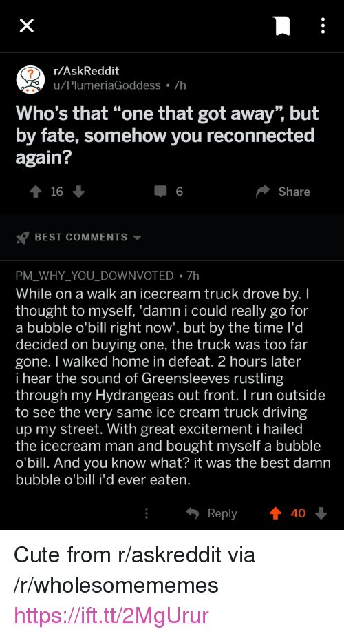 """Plu: r/AskReddit  u Plu  meriaGoddess 7h  Who's that """"one that got away"""" but  by fate, somehow you reconnected  again?  16  6  Share  BEST COMMENTS ▼  PM WHY YOU DOWNVOTED7h  While on a walk an icecream truck drove bv. I  thought to myself. 'damn i could really go for  a bubble o'bill right now', but by the time l'd  decided on buying one, the truck was too far  gone. I walked home in defeat. 2 hours later  i hear the sound of Greensleeves rustling  through my Hydrangeas out front.I run outside  to see the very same ice cream truck driving  up my street. With great excitement i hailed  the icecream man and bought myself a bubble  o'bill. And you know what? it was the best damn  bubble o'bill i'd ever eaten  Reply  40 <p>Cute from r/askreddit via /r/wholesomememes <a href=""""https://ift.tt/2MgUrur"""">https://ift.tt/2MgUrur</a></p>"""