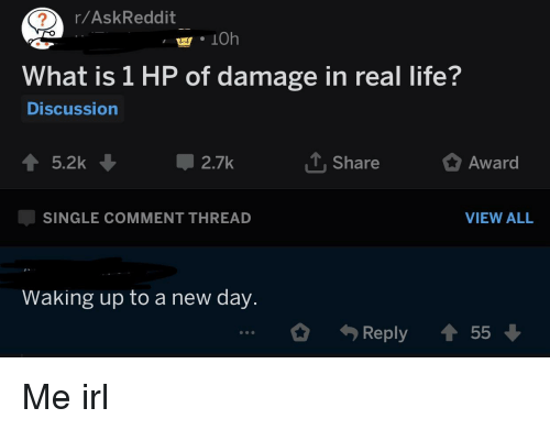 Life, What Is, and Irl: r/AskReddit  What is 1 HP of damage in real life?  Discussion  T Share  Award  SINGLE COMMENT THREAD  VIEW ALL  Waking up to a new day.  Reply 55 Me irl