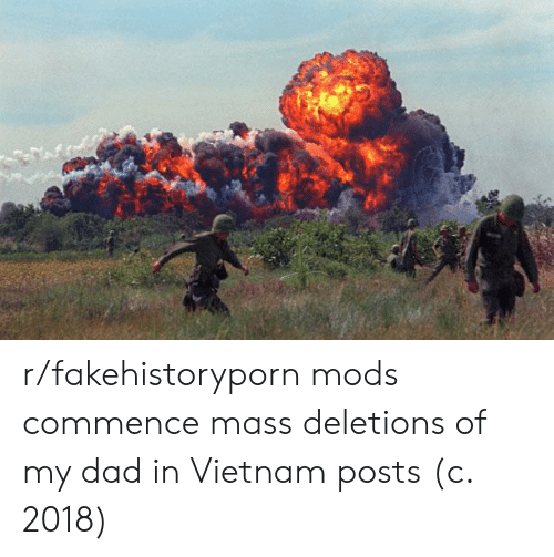 commence: r/fakehistoryporn mods commence mass deletions of my dad in Vietnam posts (c. 2018)
