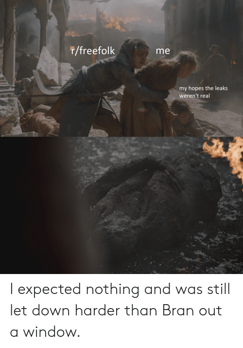 Bran, Leaks, and Down: r/freefolk  me  my hopes the leaks  weren't real I expected nothing and was still let down harder than Bran out a window.
