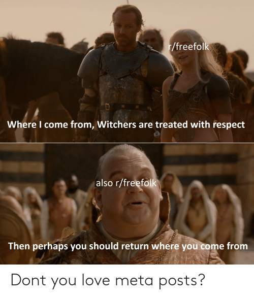 Witchers: r/freefolk  Where I come from, Witchers are treated with respect  also r/freefolk  Then perhaps you should return where you come from Dont you love meta posts?