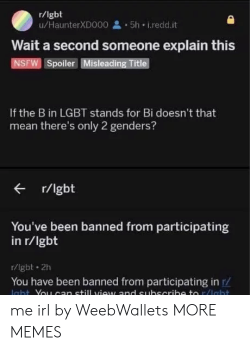 Only 2 Genders: r/lgbt  u/HaunterXD000 5h i.redd.it  Wait a second someone explain this  NSFW Spoiler Misleading Title  If the B in LGBT stands for Bi doesn't that  mean there's only 2 genders?  r/lgbt  You've been banned from participating  in r/lgbt  r/lgbt 2h  You have been banned from participating in r/ me irl by WeebWallets MORE MEMES