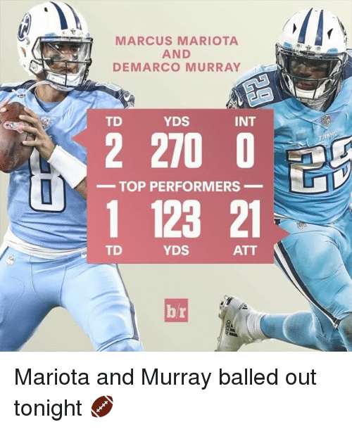 marcus mariota: R MARCUS MARIOTA  AND  DEMARCO MURRAY  INT  YDS  TD  2 210 0  TOP PERFORMERS  1 123 21  TD  YDS  ATT  TITANS Mariota and Murray balled out tonight 🏈