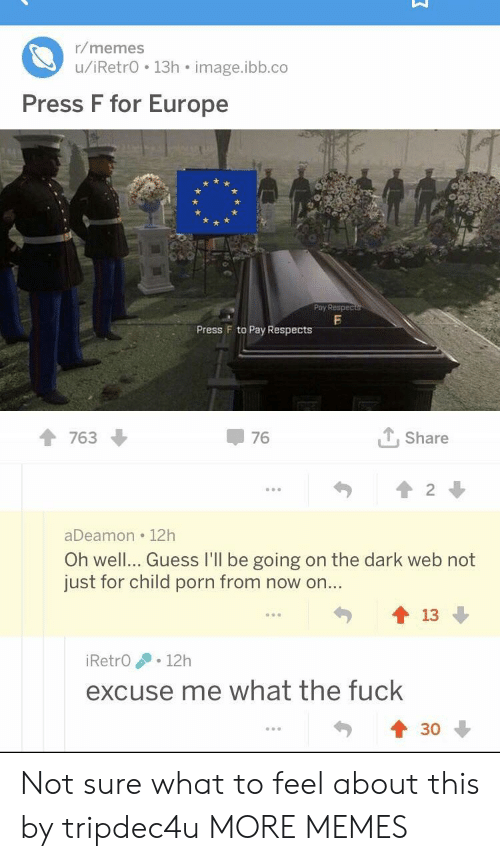 dark web: r/memes  u/iRetrO 13h image.ibb.co  Press F for Europe  Pby Respec  Press F to Pay Respects  1 763  76  个, share  aDeamon 12h  Oh well... Guess I'll be going on the dark web not  just for child porn from now on..  勺會13  90  iRetrO .12h  excuse me what the fuck  430 Not sure what to feel about this by tripdec4u MORE MEMES