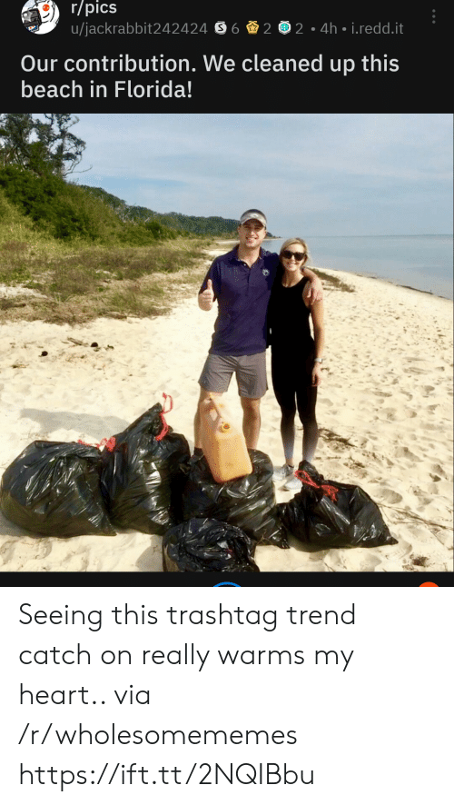Beach, Florida, and Heart: r/pics  u/jackrabbit242424 S6 2 2 4h i.redd.it  Our contribution. We cleaned up this  beach in Florida! Seeing this trashtag trend catch on really warms my heart.. via /r/wholesomememes https://ift.tt/2NQIBbu