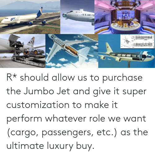 Passengers: R* should allow us to purchase the Jumbo Jet and give it super customization to make it perform whatever role we want (cargo, passengers, etc.) as the ultimate luxury buy.