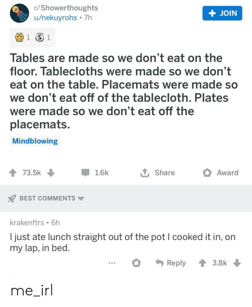 In On: r/Showerthoughts  /nekuyrohs 7h  + JOIN  1 S 1  Tables are made so we don't eat on the  floor. Tablecloths were made so we don't  eat on the table. Placemats were made so  we don't eat off of the talblecloth. Plates  were made so we don't eat off the  placemats.  Mindblowing  Award  73.5k  1.6k  Share  BEST COMMENTS  krakenftrs 6h  I just ate lunch straight out of the pot I cooked it in, on  my lap, in bed.  Reply  3.8k me_irl