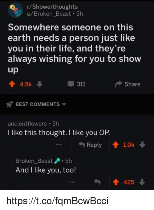 Life, Memes, and Best: r/Showerthoughts  u/Broken_Beast 5h  Somewhere someone on this  earth needs a person just like  you in their life, and they're  always wishing for you to show  4.5k  311  Share  BEST COMMENTS ▼  ancientflowers 5h  I like this thought. I like you OP  Reply  1.0k  参参@  Broken_Beast.5h  And I like you, too!  425 https://t.co/fqmBcwBcci