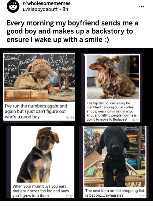 Hipster, Run, and Shopping: r/wholesomememes  u/slappydabutt 8h  Every morning my boyfriend sends me a  good boy and makes up a backstory to  ensure I wake up with a smile :)   NSL  I've run the numbers again and  again but I just can't figure out  who's a good boy  The hipster boi can easily be  identified hanging out in coffee  shops, wearing his hair in a top  knot, and telling people how he is  going to move to Budapest 0733  07:33  When your mum buys you ears  that are 2 sizes too big and says  you'll grow into them  The next item on the shopping list  07:32  07:33