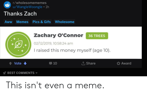 Aww, Meme, and Memes: r/wholesomememes  /WangleWoongle 1h  Thanks Zach  Pics & Gifs  Aww  Memes  Wholesome  Zachary O'Connor 36 TREES  02/12/2019, 10:58:24 am  I raised this money myself (age 10)  Share  Vote  10  Award  BEST COMMENTS This isn't even a meme.